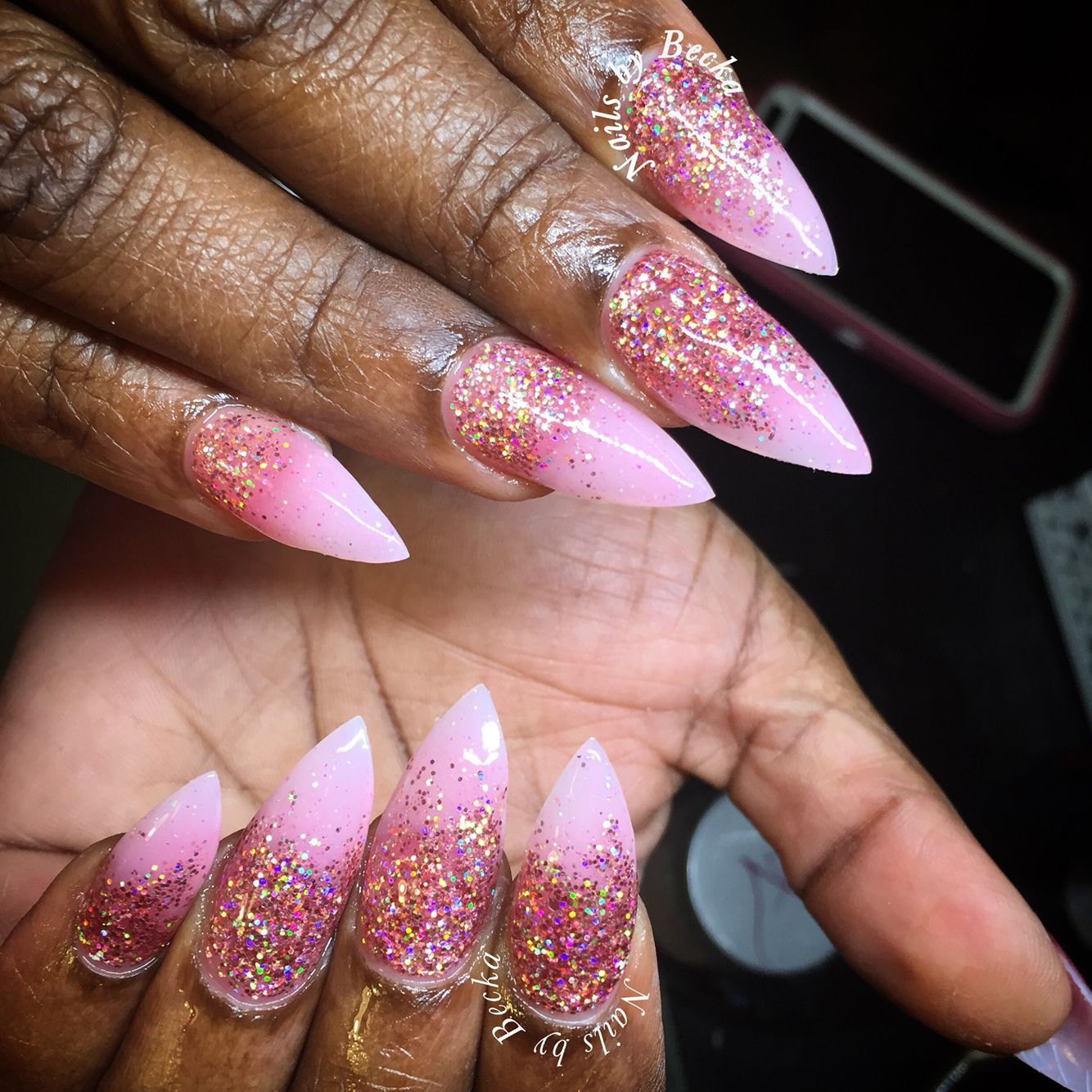 Coffin Pink Powder And Rose Gold Glitter Acrylic Nails