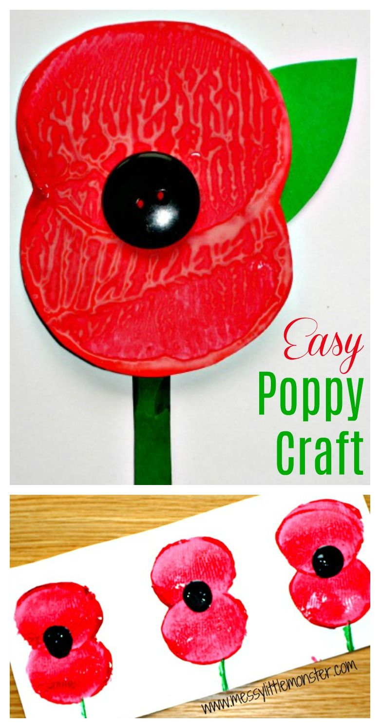 Remembrance Day Poppy Craft #remembrancedaycraftsforkids