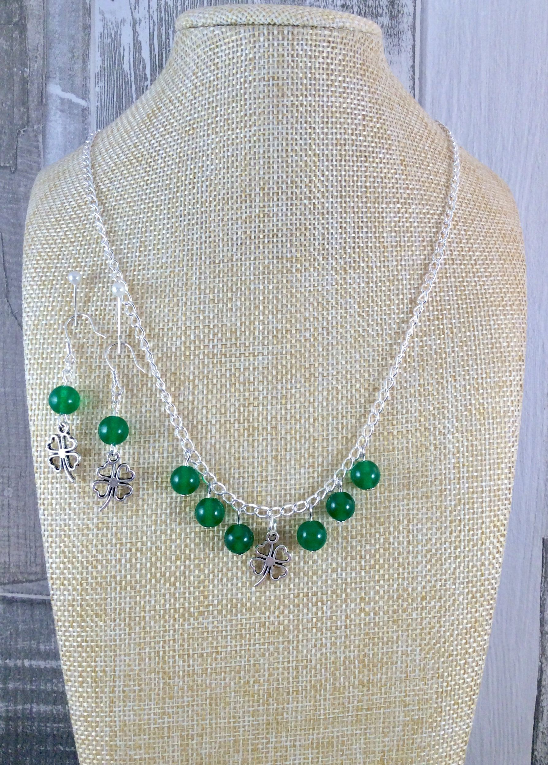 St patricks day saint patricks day green jewellery green necklace