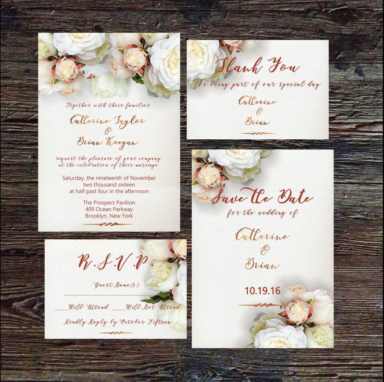 Wedding Stationery, Floral Wedding Invitation Template, Elegant ...