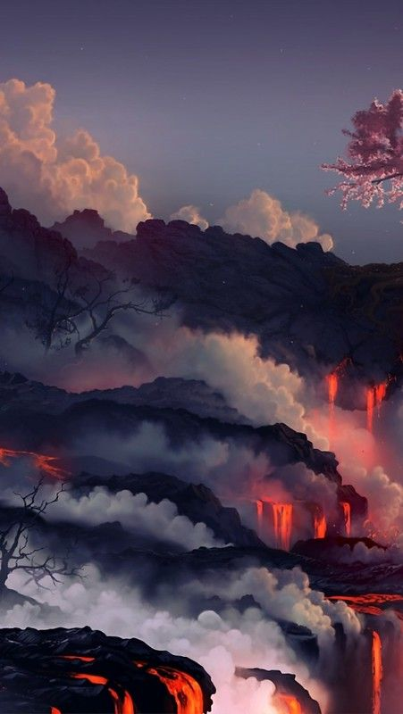 eruption_lava_volcano_oriental_cherry_tree_45542_640x1136