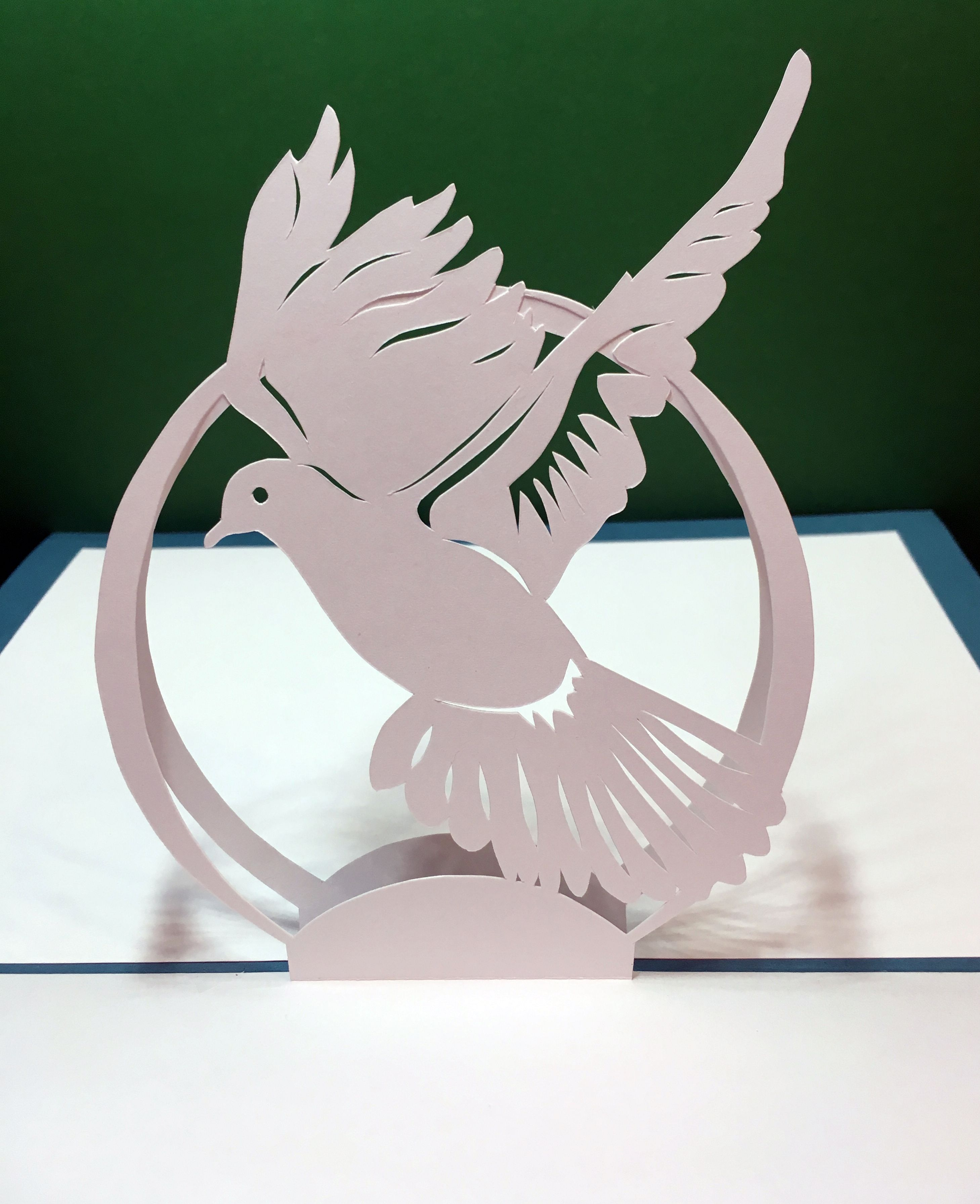 Dove popup card template from cahier de kirigami cards pop