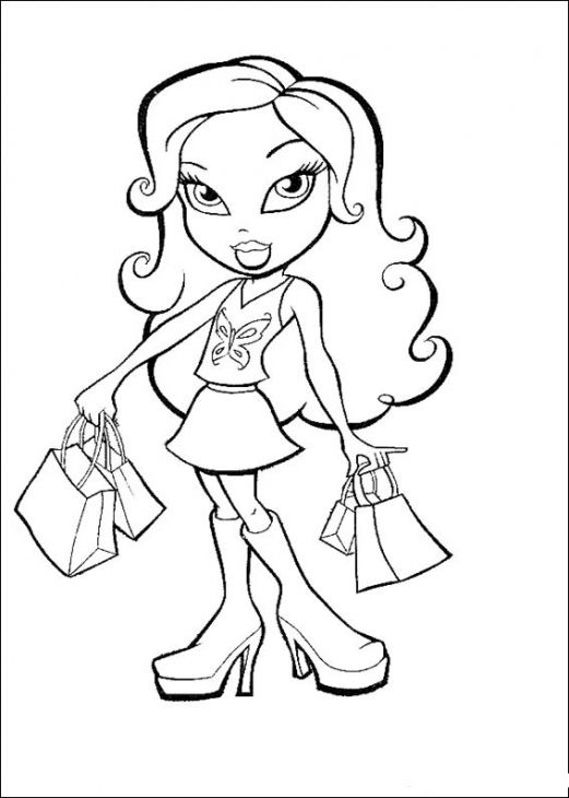 Bratz doll with shopping bags coloring sheet online | Coloring Pages ...