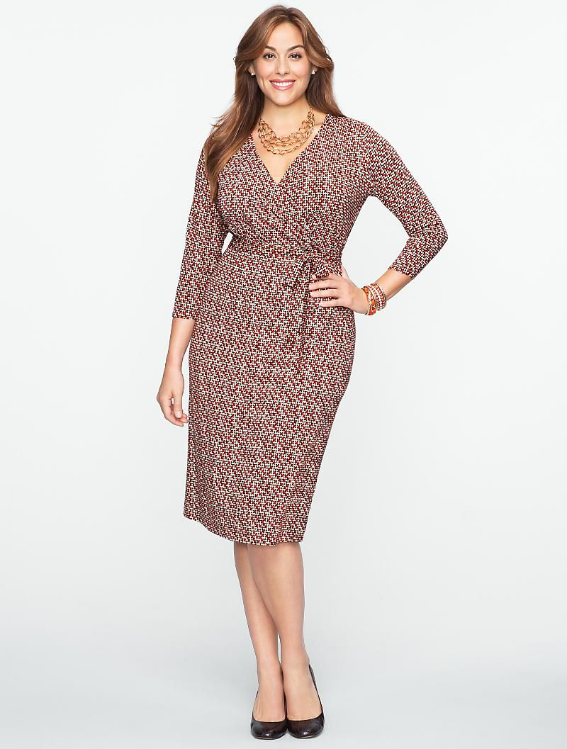 Plus Size Houndstooth Platinum Jersey Wrap Dress From Talbots