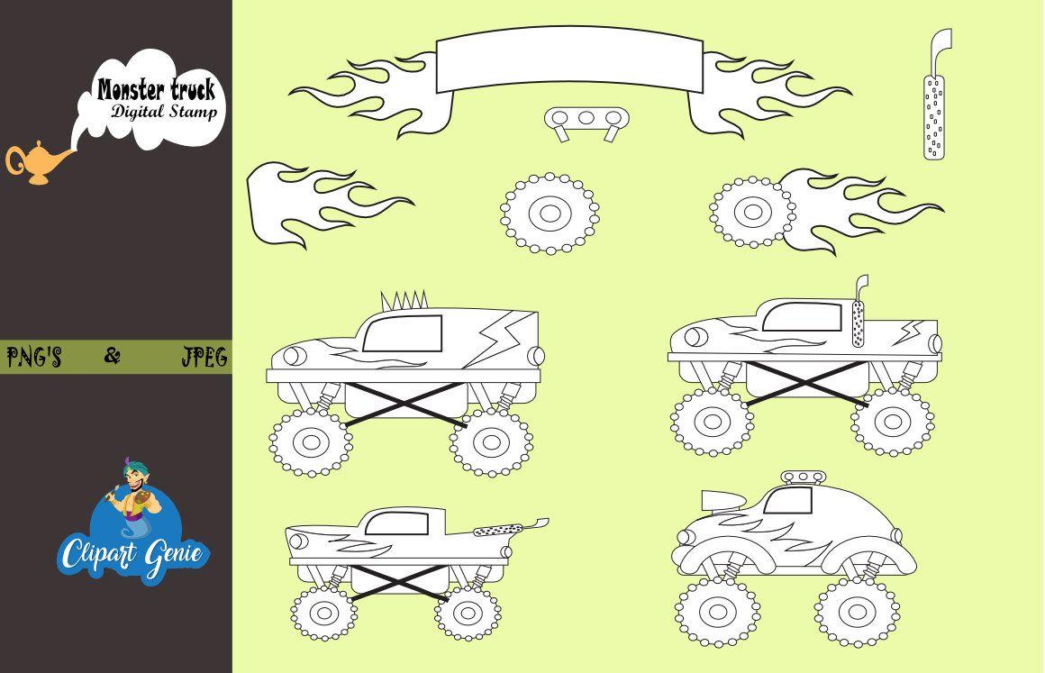 monster truck digital stamps sport racer clipart truck race