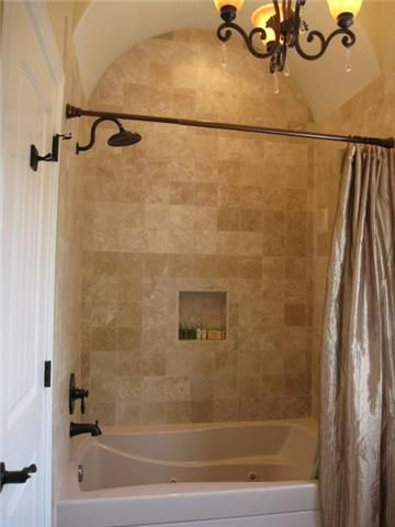 Travertine tile bathtub shower combo surround design ideas for Decorating ideas tub surround