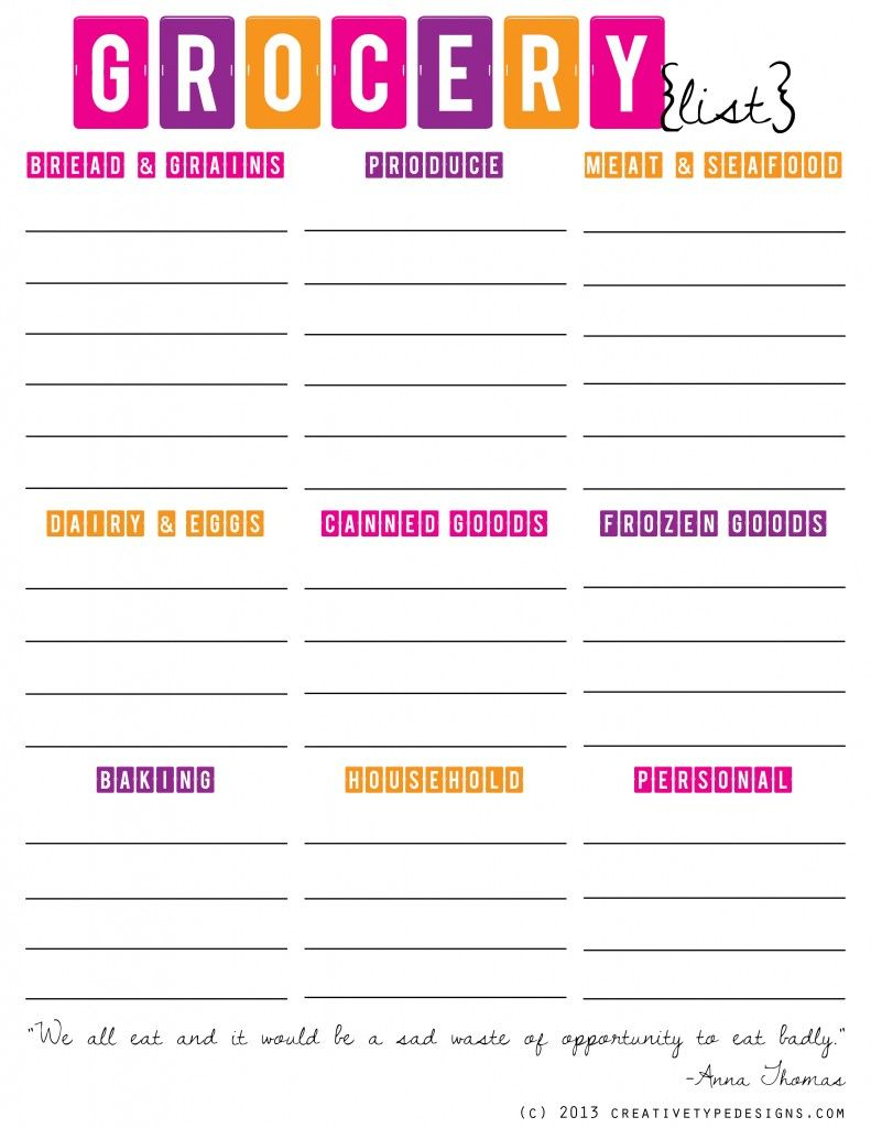 Great Organized Grocery Store List {Free Printable