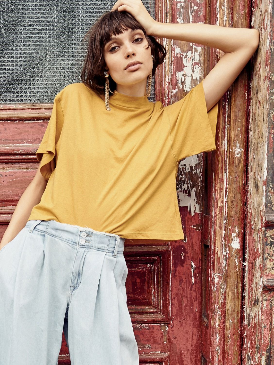 Mustard Yellow Need You Tee at Free People Clothing Boutique