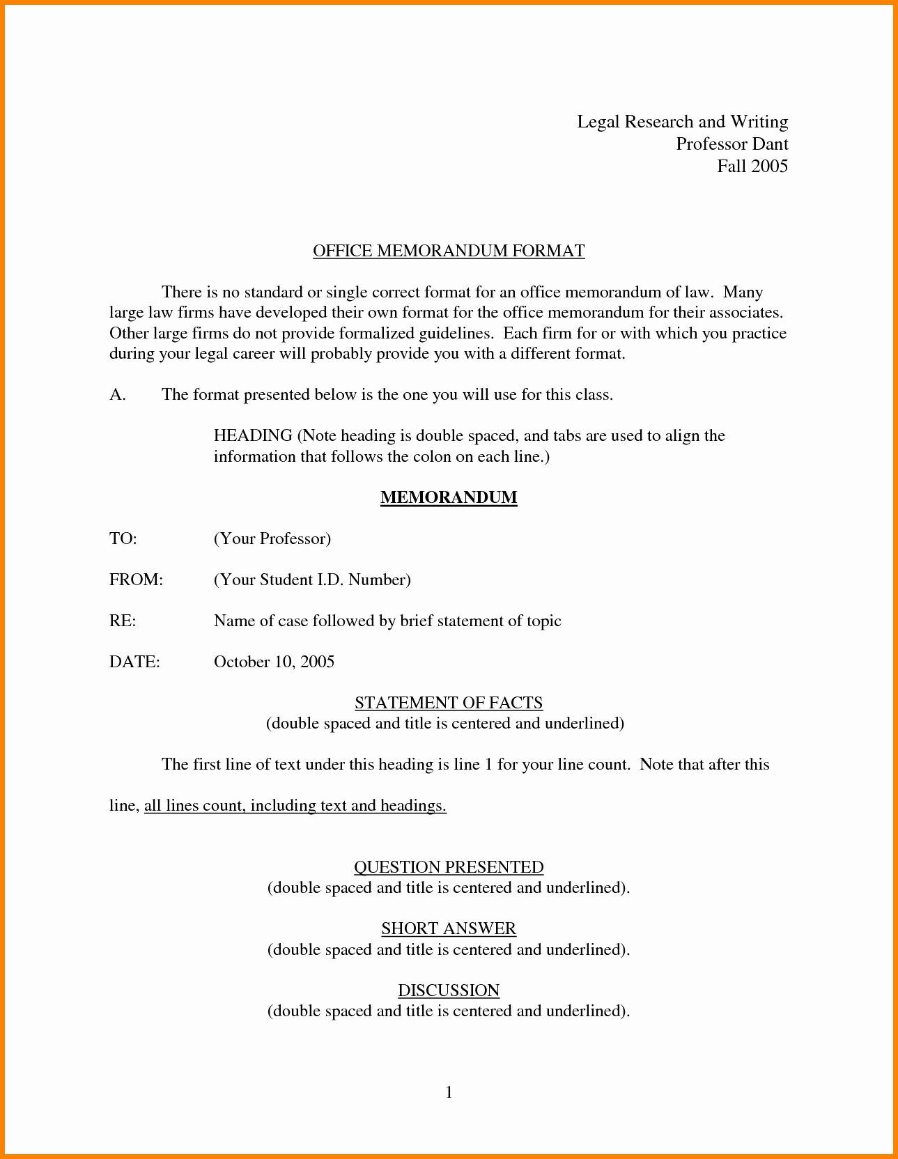 Sample Legal Memo format Fresh 6 Legal Memo format in 2020