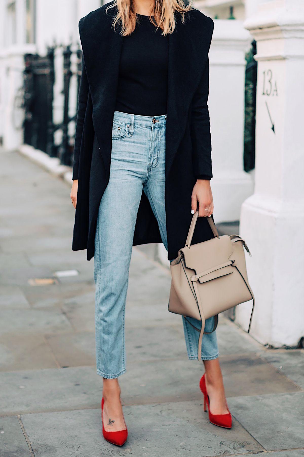 Woman Wearing Ann Taylor Black Wrap Coat Black Top Denim High Rise Jeans  Red Pumps Celine Mini Belt Bag Fashion Jackson San Diego Fashion Blogger  London ... a2d172a1a7e95