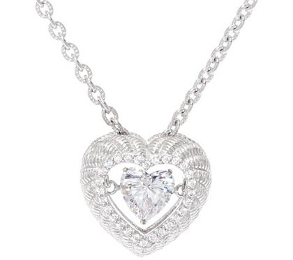 Open-hearted. Share your love of all things sparkling with this sterling silver and cubic zirconia Diamonique simulated diamond necklace from Judith Ripka. At its center is a heart-shaped Diamonique(R) simulated diamond inside an airy, openwork design with an inner edge of bead-set, round Diamonique simulated diamonds. The result is a sweetly twinkling look you'll treasure. From Judith Ripka. QVC.com