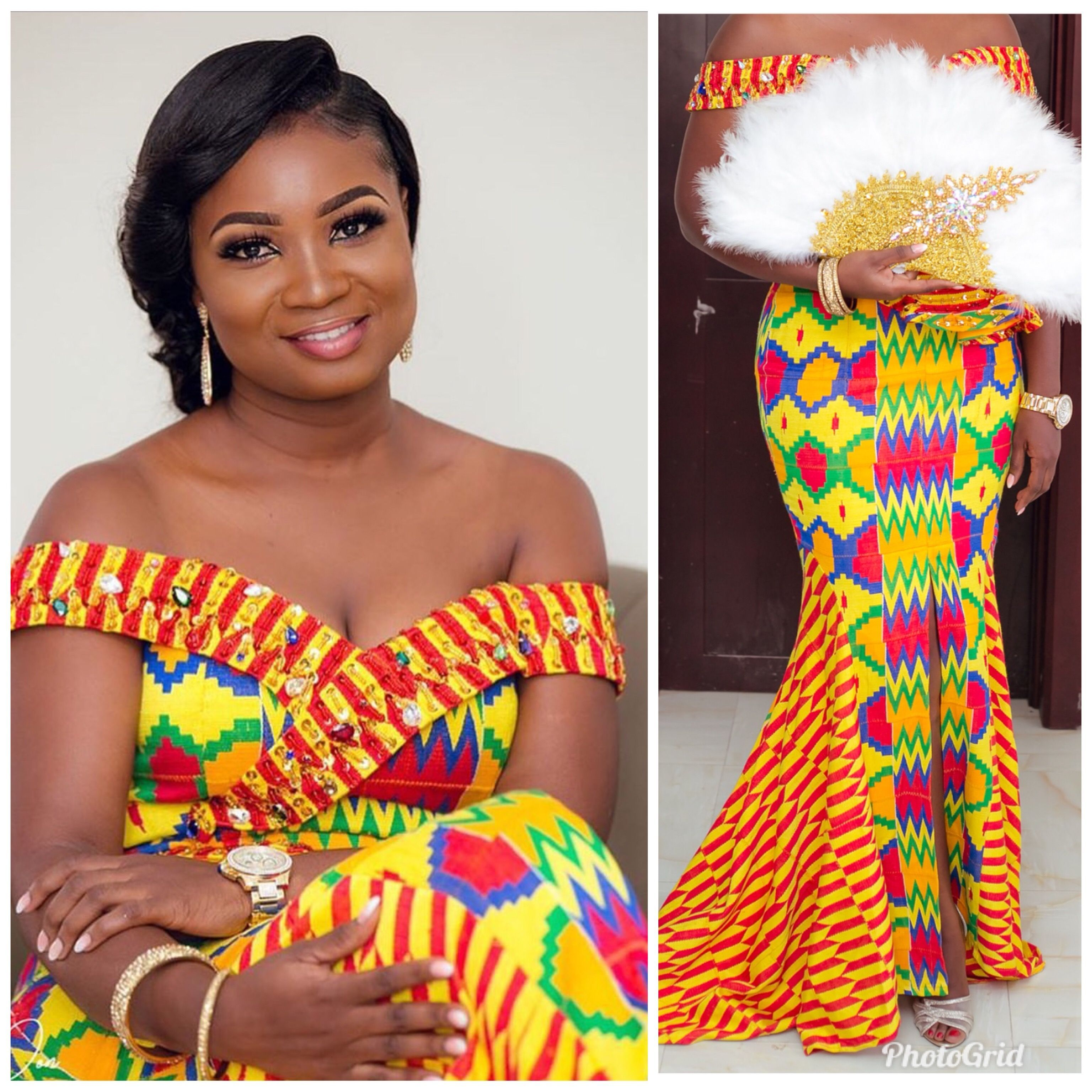 Kente Wedding Gowns: Beat Your Aso Ebi Train With These Amazing Styles
