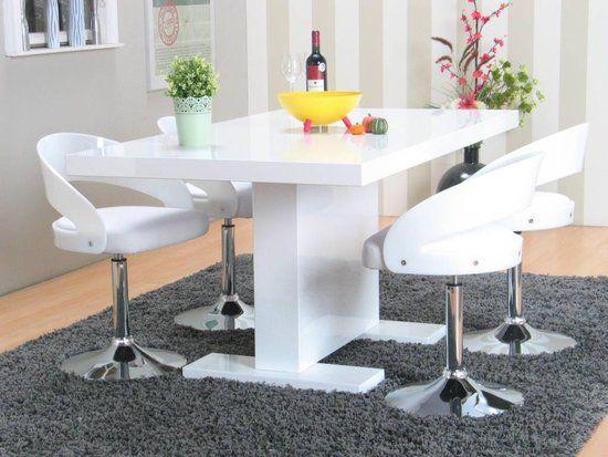 Caletto Limpkin - Eethoek met 4 stoelen - 90x160 cm - Wit/Zwart