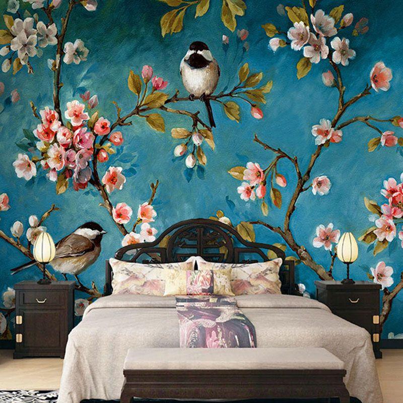 Goedkope Foto behang 3d stereo chinese bloemen vogels mural ...