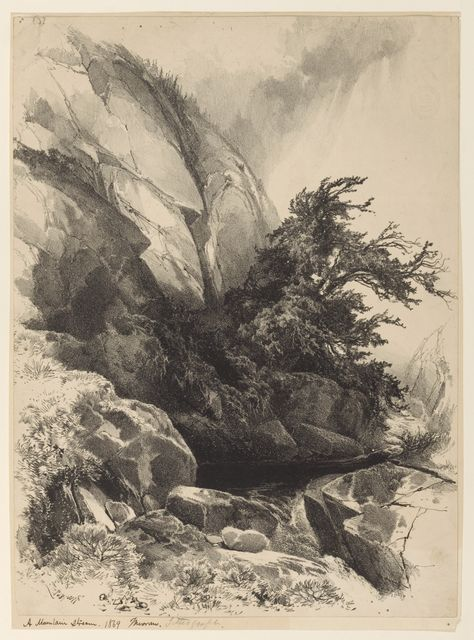 """Tombstone:  Print, """"A Mountain Stream"""", 1869.  1869. Lithograph on paper.Smithsonian, Cooper-Hewitt, National Design Museum"""