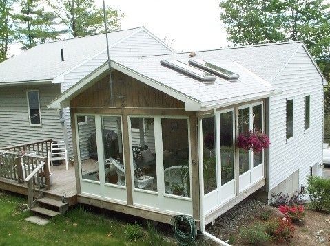 wood framed screen porch with harvey aluminum panel system