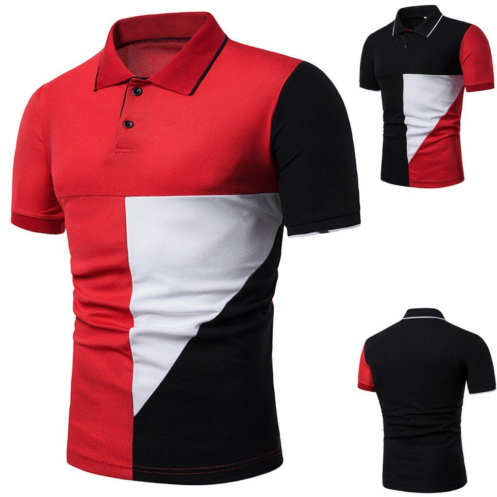 220411c3 funny t shirts Fashion Men/'s Fit Slim Collar Button Patchwork Short Sleeve  Top