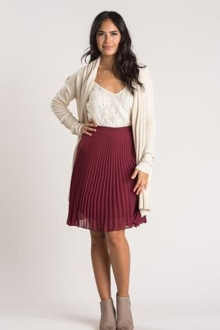 a7d39a210778 Petite Camille Burgundy Pleated Midi Skirt | Morning Lavender ...
