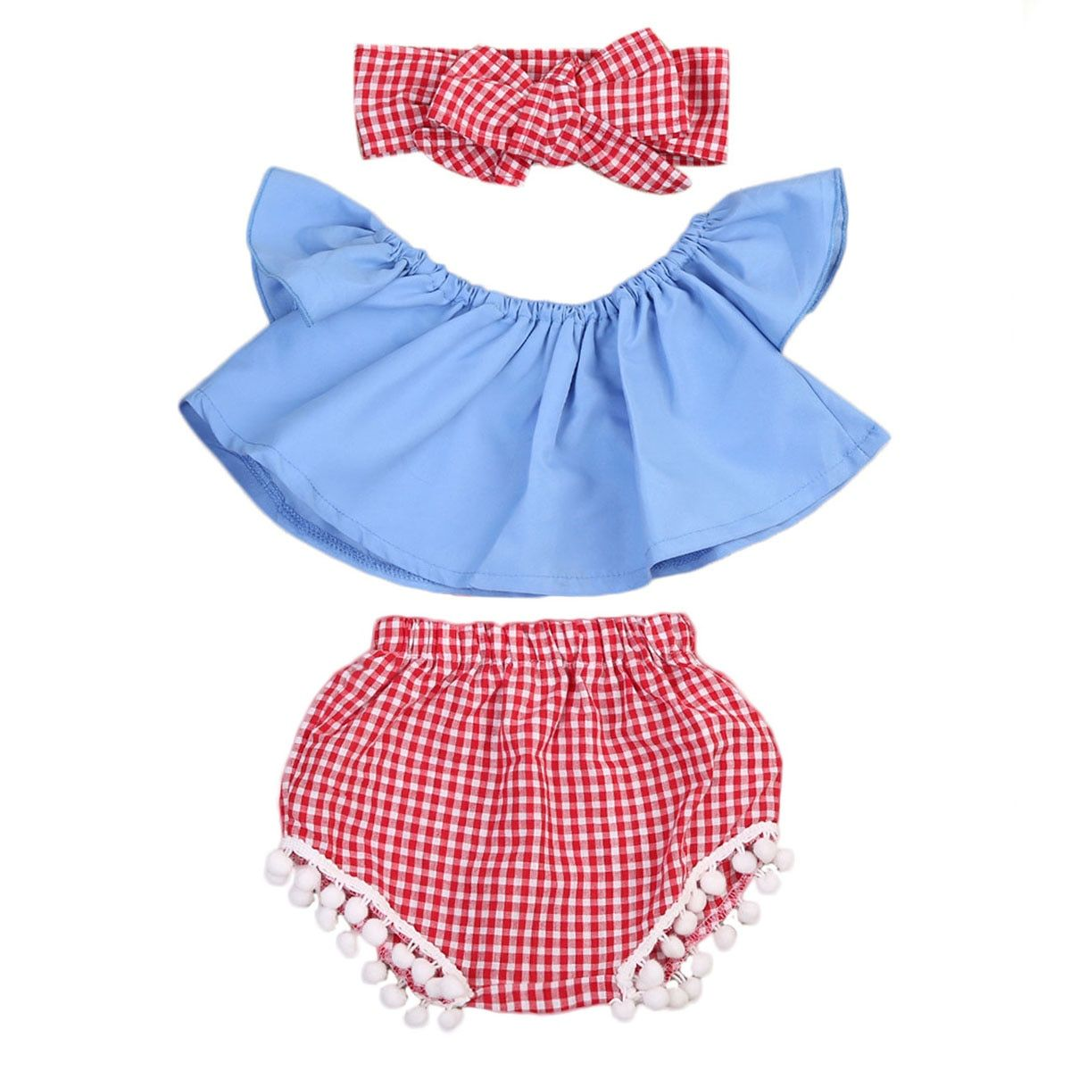 548f0cc562df Toddler Baby Girl Clothes Set Off Shoulder Top T-Shirt+Shorts Pants  +Hairband   Price   6.79   FREE Shipping     kidsclothing