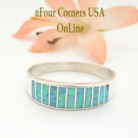 Size 13 Light Blue Fire Opal Inlay Wedding Band Ring Ella Cowboy WB-1609 Four Corners USA OnLine Native American Jewelry