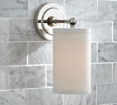 Caswell Single Apothecary Sconce #potterybarn--linen shade in the bathroom tho? Master Bath ...