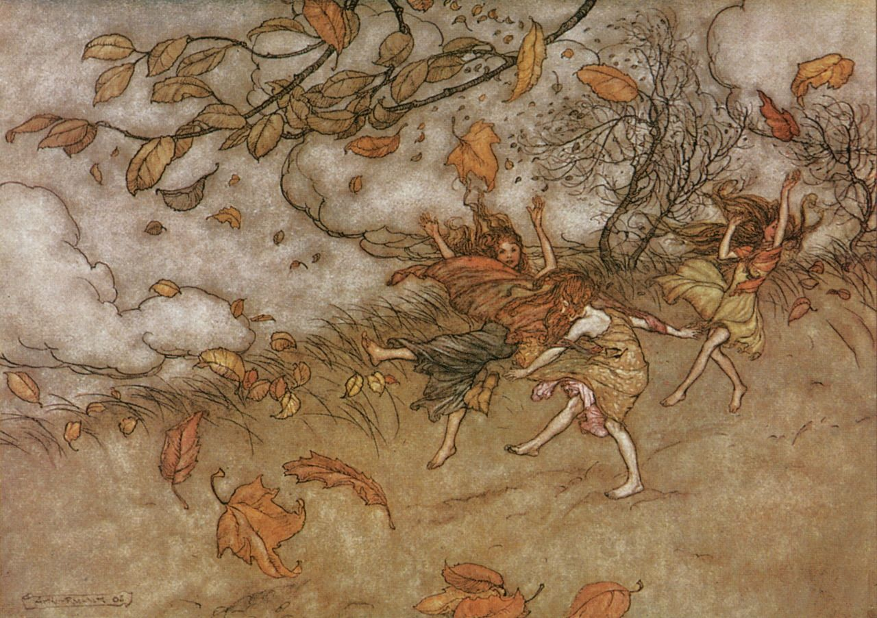 "liquidnight:  ""There is almost nothing that has such a keen sense of fun as a fallen leaf."" Illustration by Arthur Rackham for Peter Pan in Kensington  Gardens Written by J.M. Barrie First published in 1906"