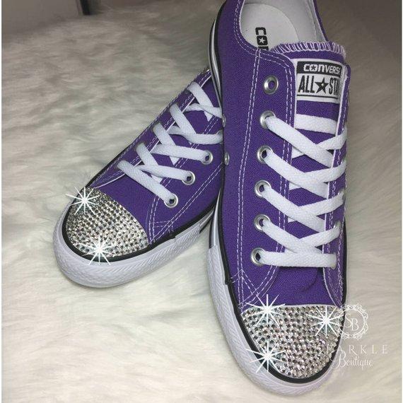 20a9abc0f4d4 Swarovski Converse All Star - PURPLE - Bling Chucks - Bling Converse - Swarovski  Chucks - Bedazzled