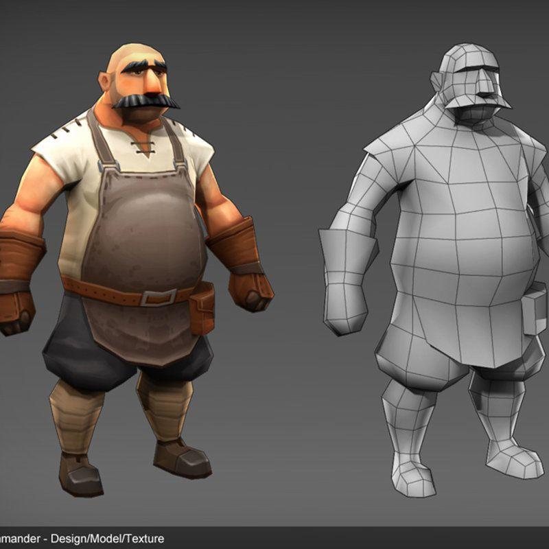 low poly game character design, modelled and textured