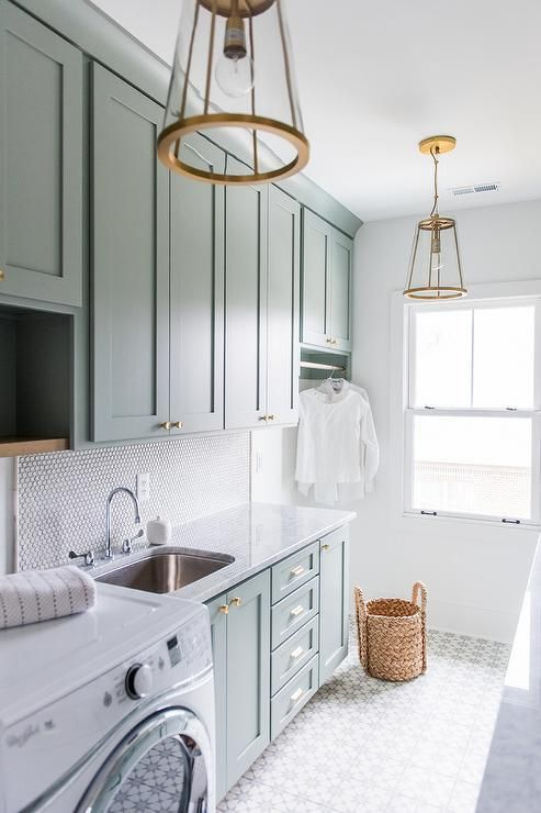 Seriously Dreamy Laundry Room Design Mint Cabinets