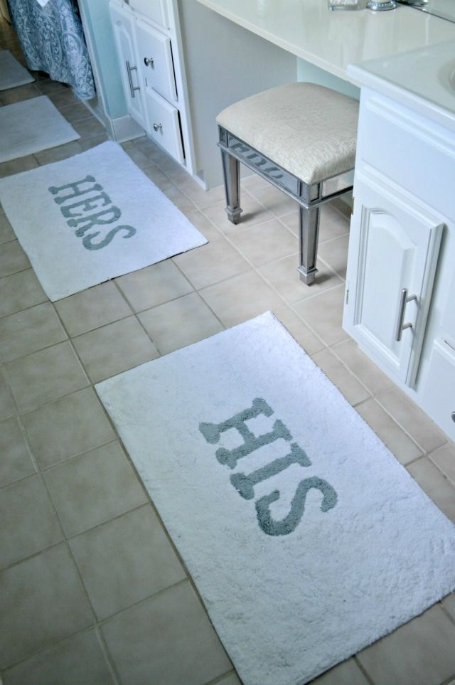 Double Vanity Bathroom Rugs made with lovedana: his and hers porclain blue bathroom
