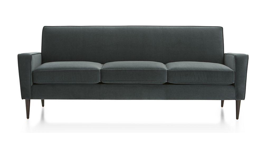 Torino Blue Velvet Modern Sofa