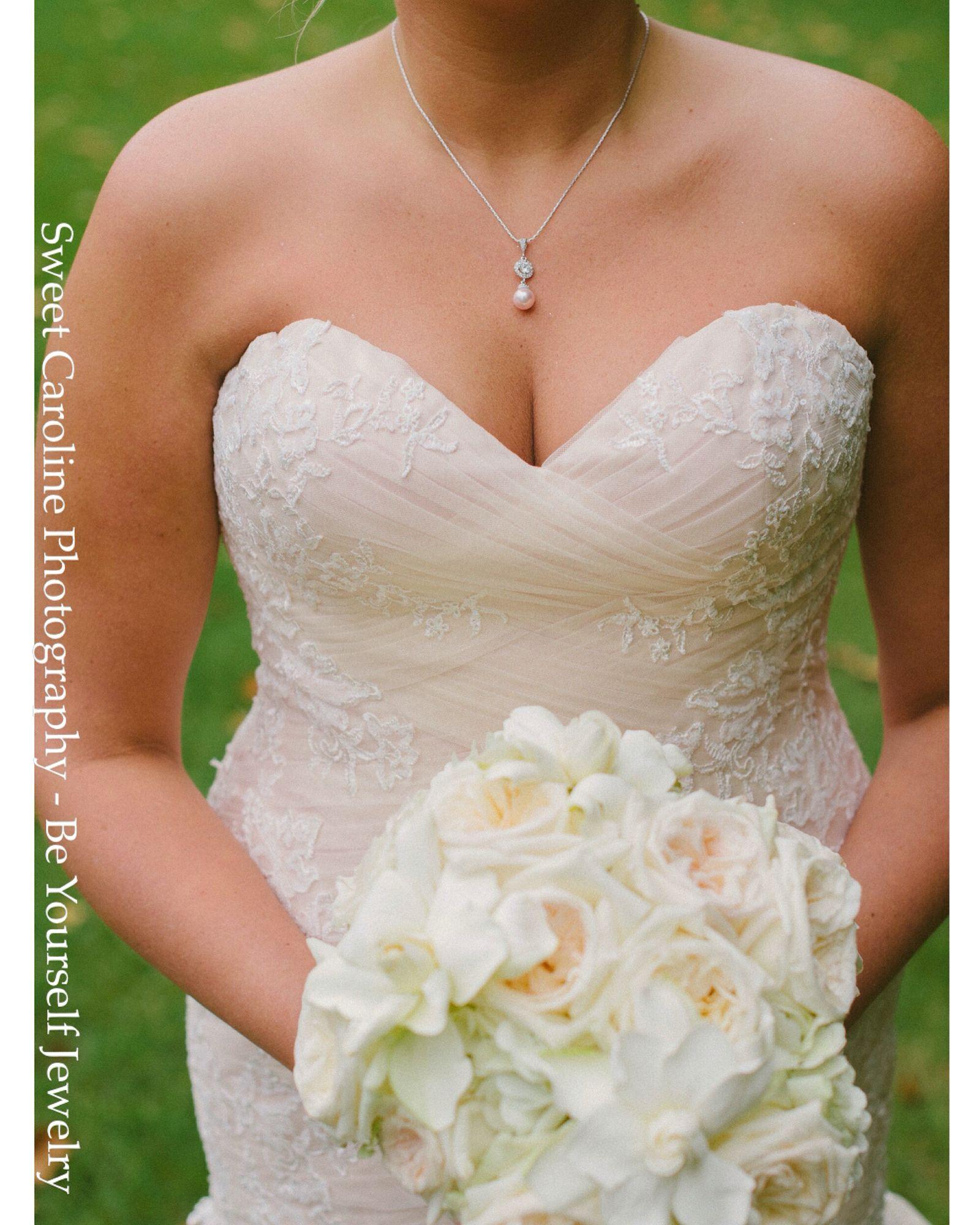 Wedding dress jewelry  Perfect blush wedding dress and inspiration Swarovski pearl jewelry