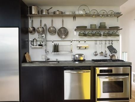Kitchen Open Rail Storage Systems Shelves, Walls and Kitchens