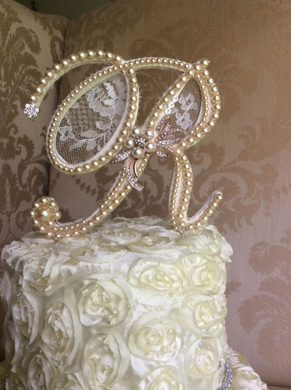 custom monogram wedding cake toppers with lace, pears and brooch ...