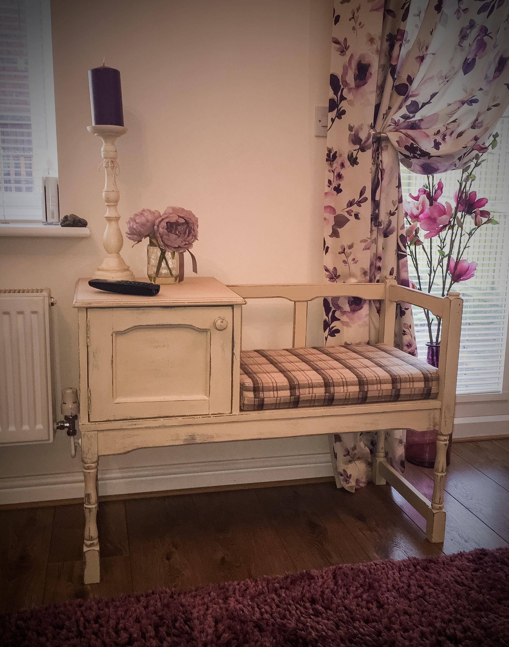 upcycled shabby chic telephone seat - hand painted using annie
