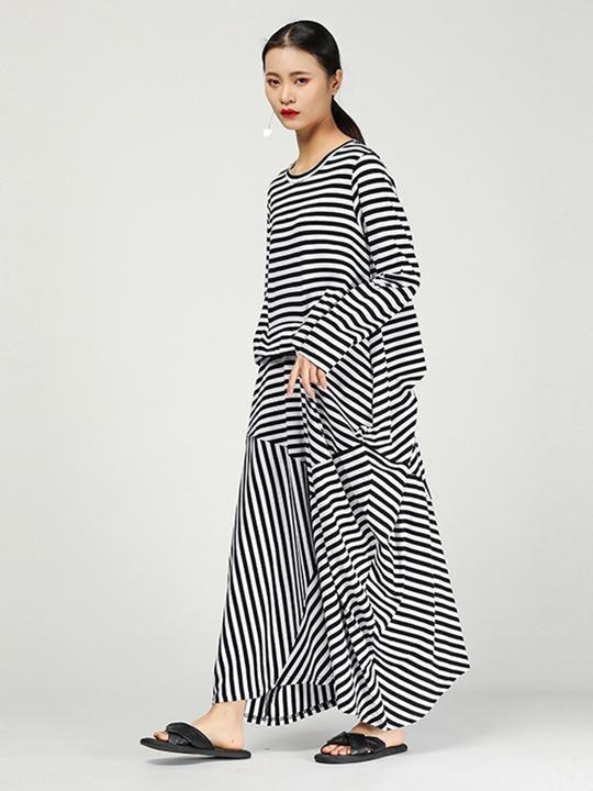 Navy Blue/Cappuccino- Brownish Maxi Dress 3/4 Sleeves