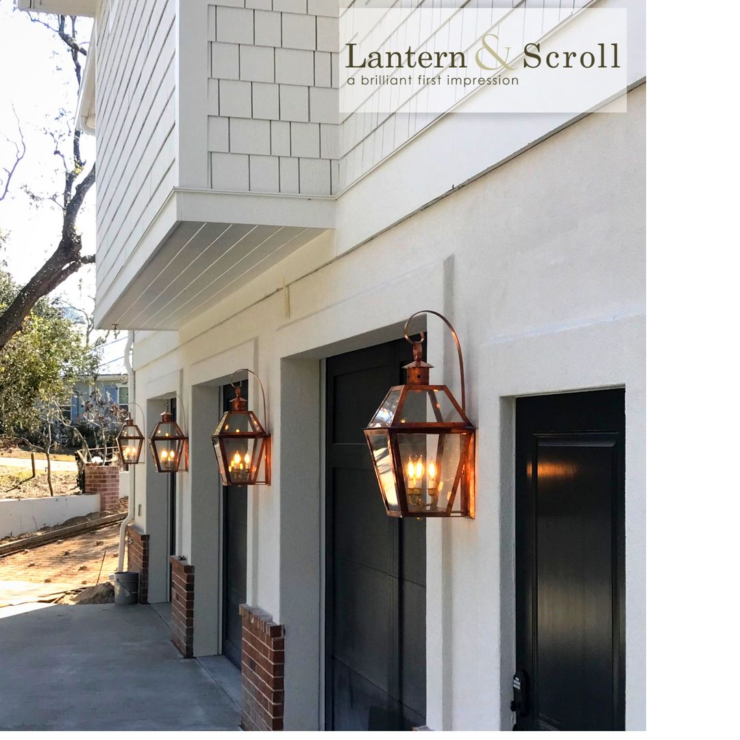 Charleston Style Copper Lighting Fixtures Above Garage Doors Copper Lighting Exterior Light Fixtures Carriage Style Garage Doors