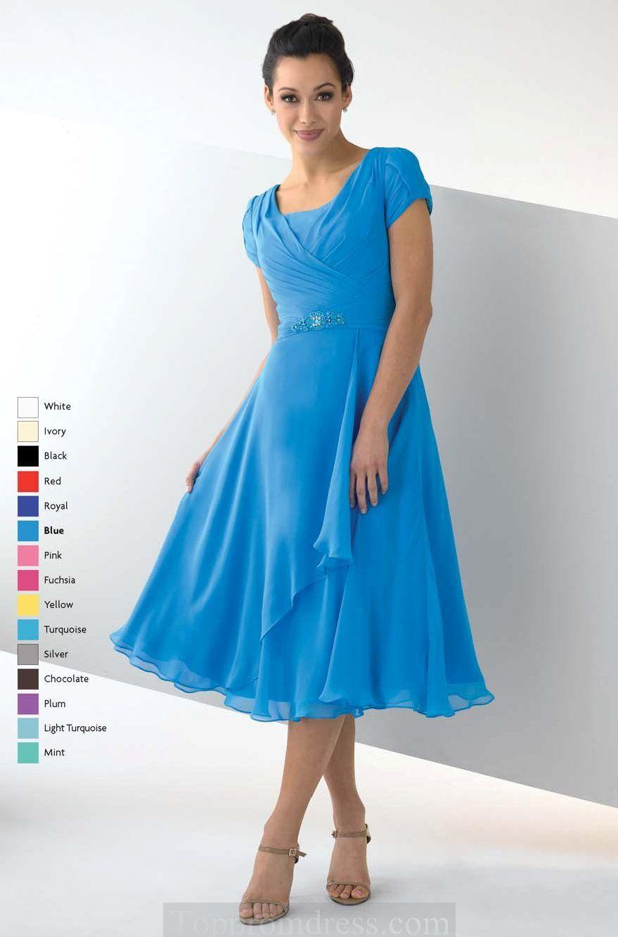 mother of the bride dresses tea length | ... Short Sleeve Zipper ...