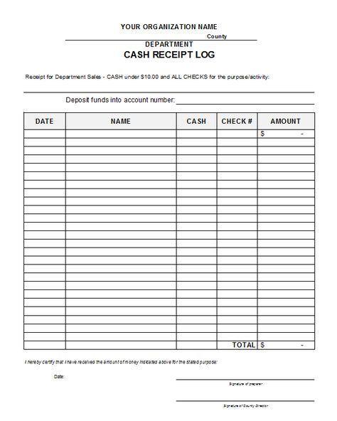 free printable cash receipts cash receipt log template