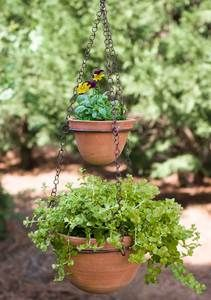 Hanging Terra Cotta Pots with 24-inch Chain images