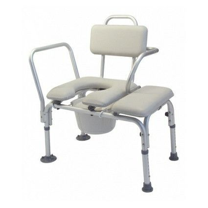 padded commode transfer bench with tub clamp swing arm pail and lid
