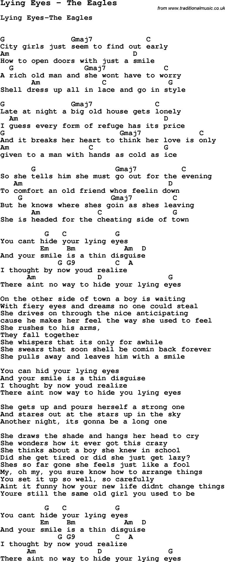 "Glenn Frey's Greatest Eagles Song ""Lyin' Eyes"" The True Story ..."