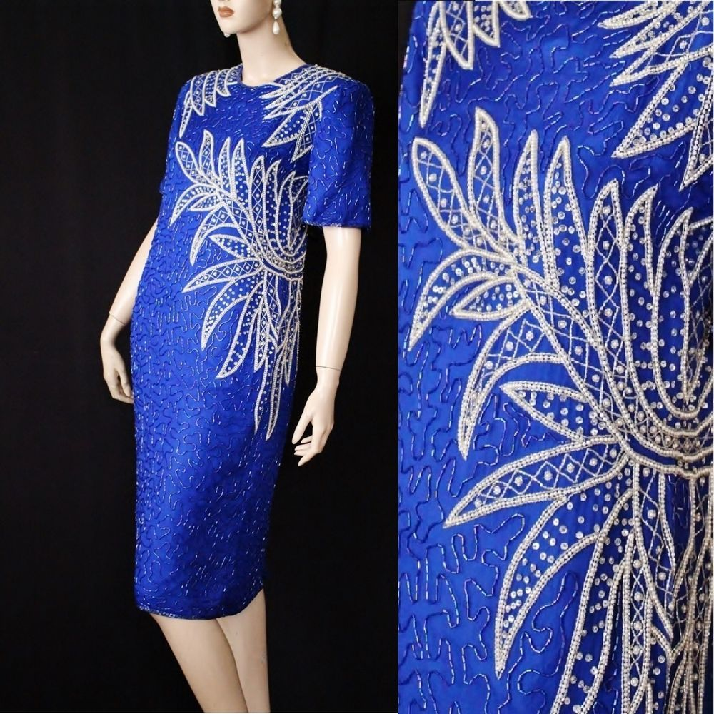 Vtg s silk beaded sequin prom party cocktail glam shift cobalt