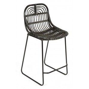 Home Giftware Buton Rattan Barstool Black Bar Stool Kitchen Stools Breakfast Chairs Design Chair