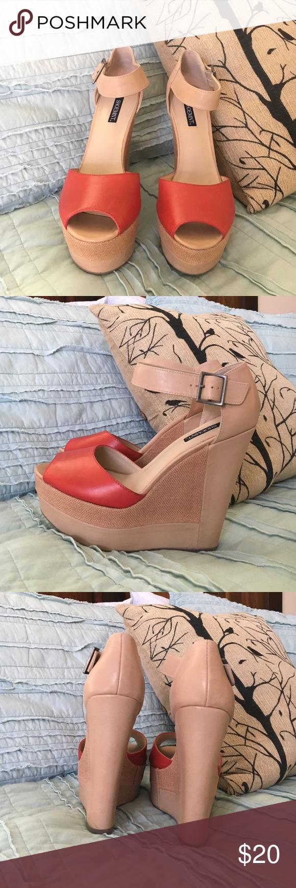 Shoemint Sophia Wedges in Bone/Red Shoemint Sophia Wedges in Bone/Red. Some signs of wear; otherwise in great condition! Shoemint Shoes Wedges