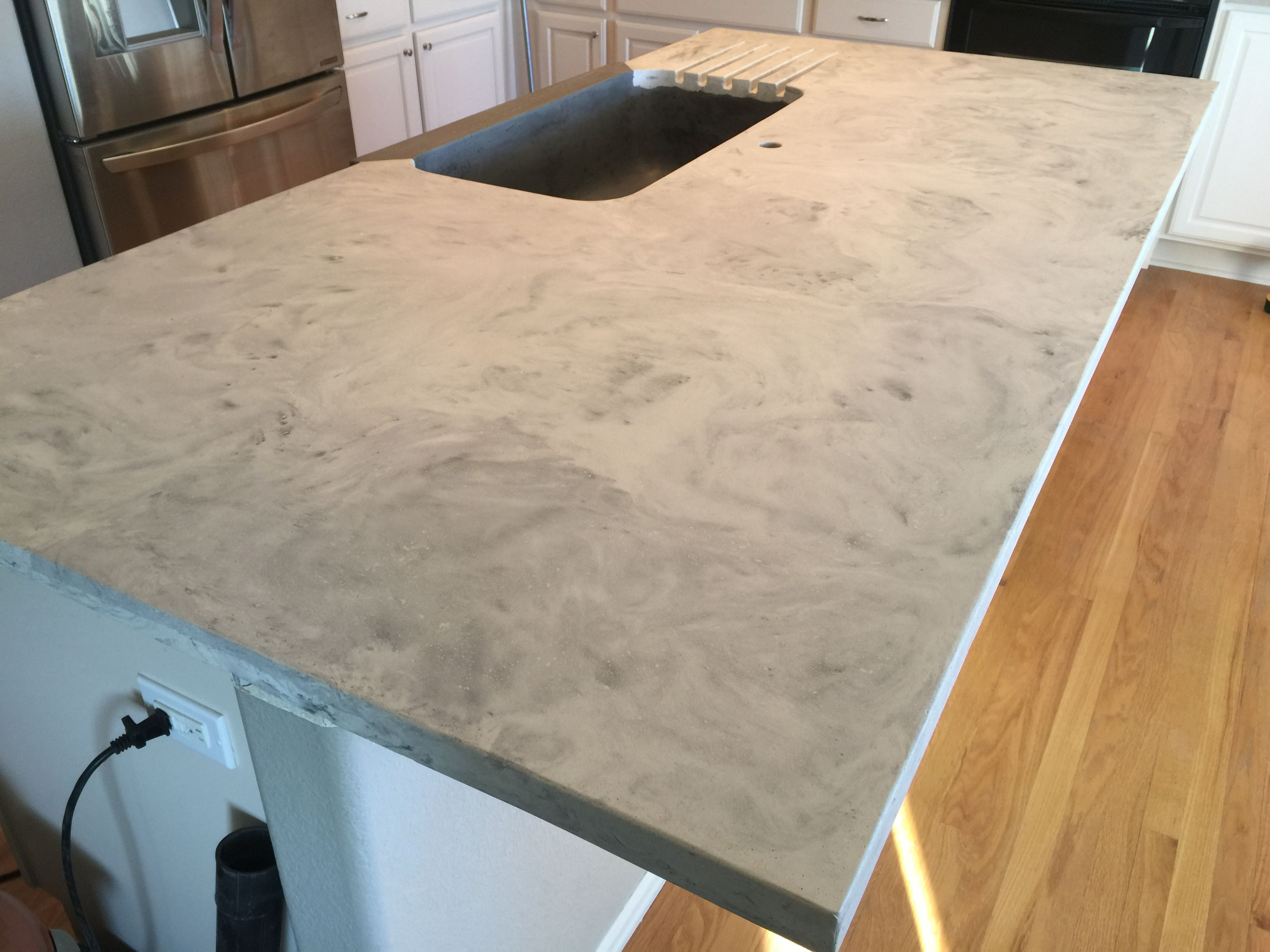 Custom Concrete Kitchen Island With Integrated Concrete Farm Sink