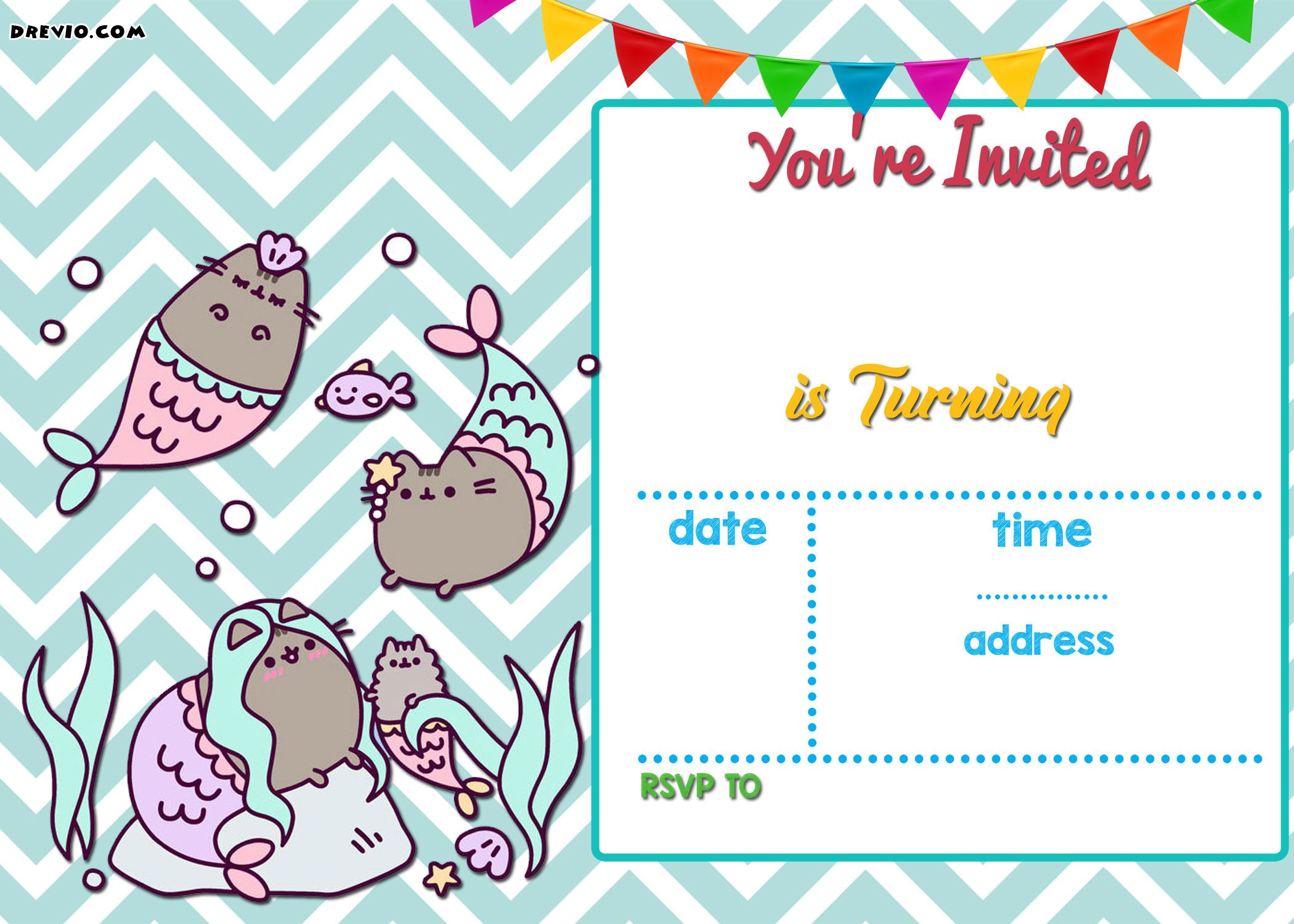 FREE Mermaid Pusheen Invitation Templates | Free Printable Birthday ...