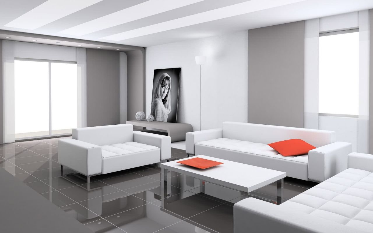 Attrayant Exquisite White Living Room Decor With Orange Red Cushion And Plate Also  White Mod Couch Set And Modern White Coffee Table Also Grey Glossy Tile  Flooring ...