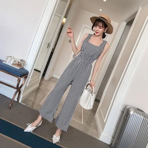 9e2477b4129 2018 Summer New Korean Style Sexy Sleeveless Long Pants Plaid Jumpsuit  Elegant Slim High Waist Wide Strap Playsuit Female