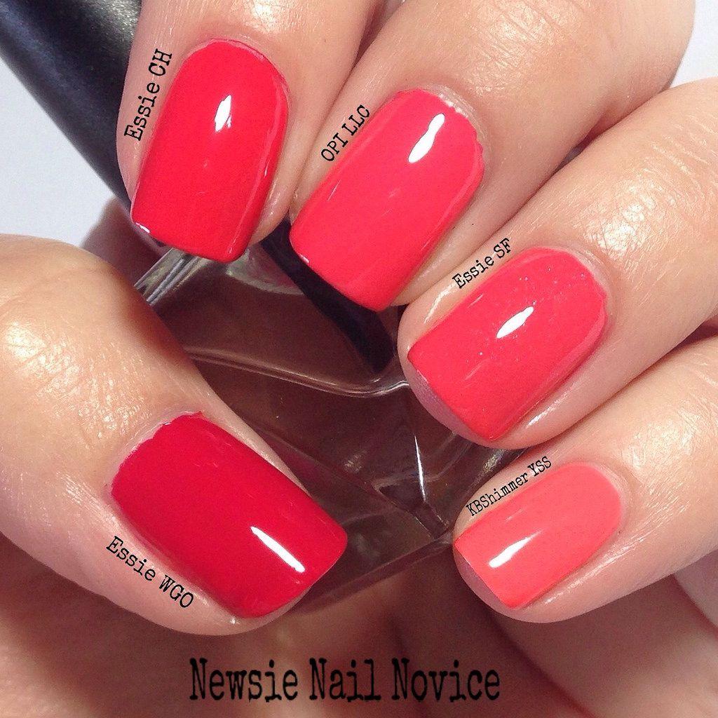 Coral nail polish comparison, cremes, OPI corals, Essie Corals ...